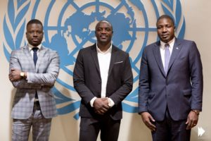 Co-founders of the Akon Lighting Africa Initiative (Left) Thione Niang, (Centre) Akon, (Right) Samba Bathily. Pic credit: The United Nations