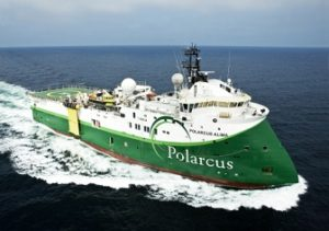 Polarcus Alima, an ultra-modern 12 streamer 3D.4D seismic vessel. Pic credit. Business Wire