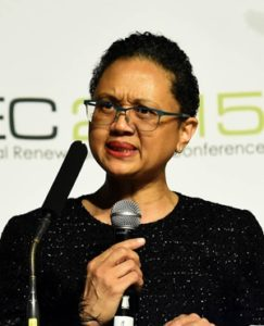 Tina Joemat-Pettersson announces 10 bid winners at SAIREC 2015. Pic credit: GCIS / Fin24