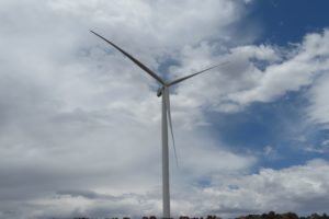 The wind turbine's tip reaches an impressive 154m into the sky when one of the blades stands vertically