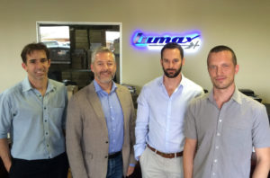 Thomas Weile from Renusol visits Lumax Energy. Pic credit: Renusol From left: Selwin Roon (CEO Lumax), Thomas Weile (Business Development Manager Renusol), Retief Rossouw (CEO Lumax), Frans-Willem Vermaak (Business Development Manager Lumax)