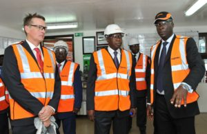 Christophe Jacquin, Managing Director - Project Sales, Aggreko Africa, Minister of Petroleum and Energy, Adama Toungara and Noussi Romiald, Operations Manager, Aggreko Ivory Coast inspect the Aggreko operations center in Abidjan