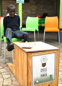Sinovuyo Mlabisa pedals for power at Masiphumelele Library