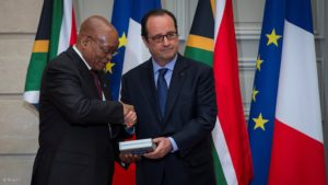South African President, Jacob Zuma and French President Francois Hollande. Pic credit: Reuters