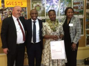 from left to right; Francois Steyn from Premium East Gate, Kudzi Samushonga from ABSA, Marriam Mazibuko from the home and Marie-Lou Okoko from ABSA.