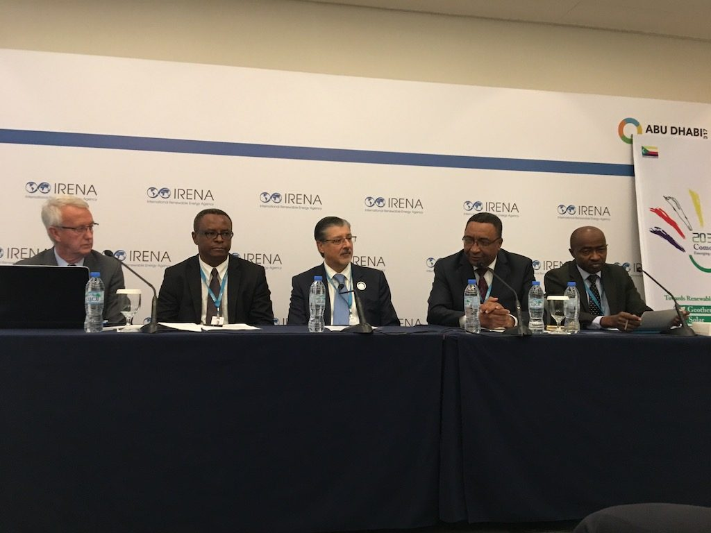 Presentation of the Karthala project with the Vice President of the Comoros, IRENA meeting 2016. source: ThinkGeoEnergy