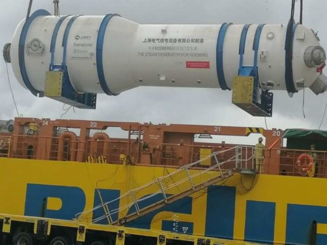 Replacement steam generators arrive at Koeberg nuclear power station